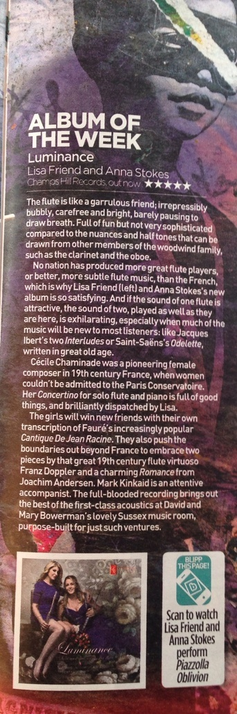 Luminance cd 5 star Review Mail On Sunday 19th Jan 2014-Anna Stokes-Lisa Friend-Mark Kinkaid