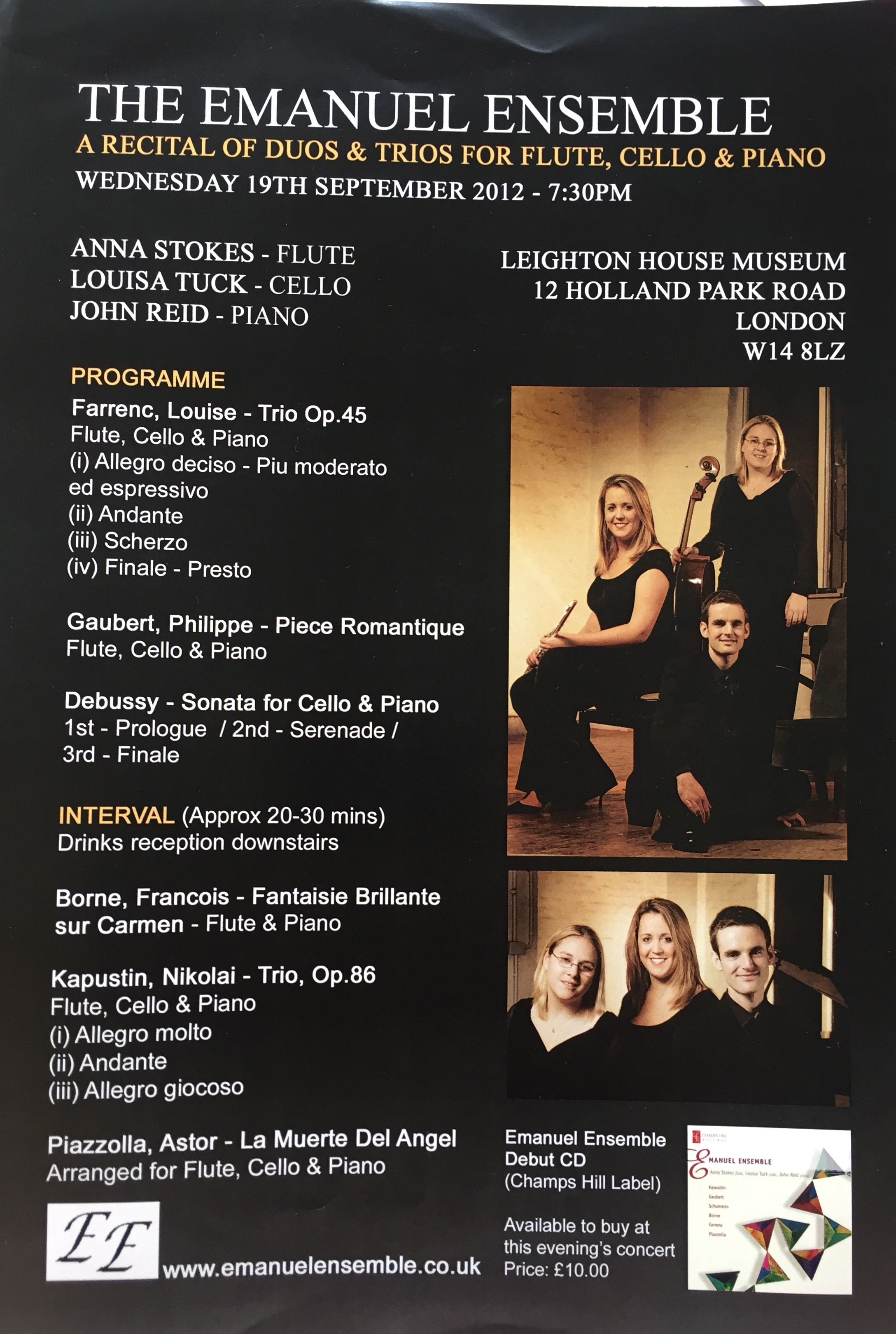 Leighton House Recital-Anna Stokes-Emanuel Ensemble