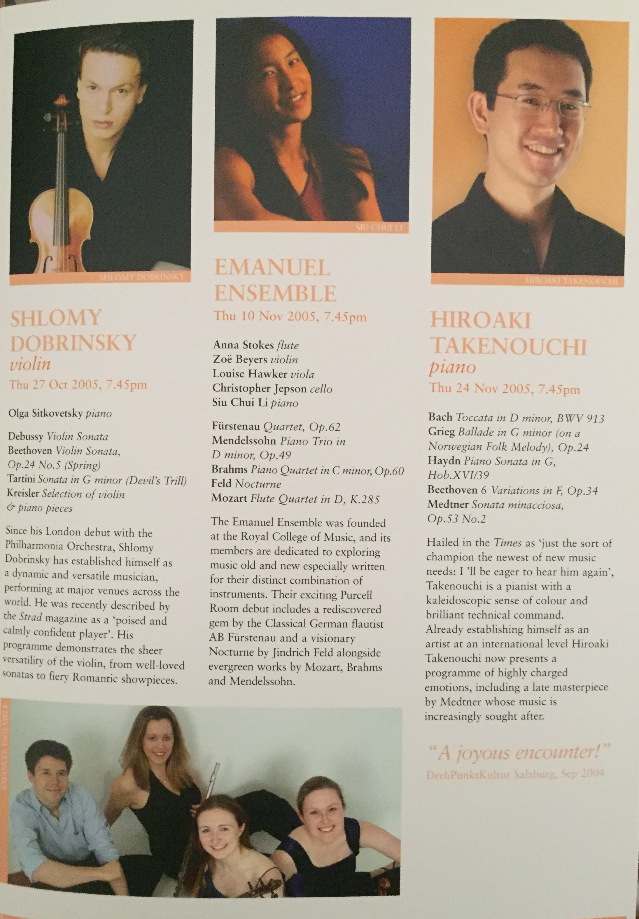 Emanuel Ensemble-Anna Stokes Flute-Purcell Room Recital Fresh Series