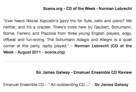 Anna Stokes and the Emanuel Ensemble Reviews - Norman Lebrecht - Scena - James Galway Quote