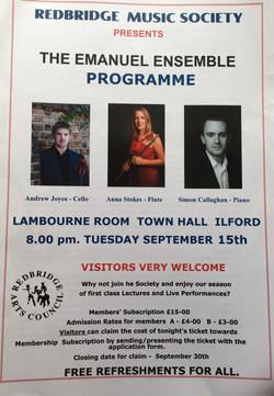 Redbridge Music Society-Emanuel Ensemble-Anna Stokes Flute