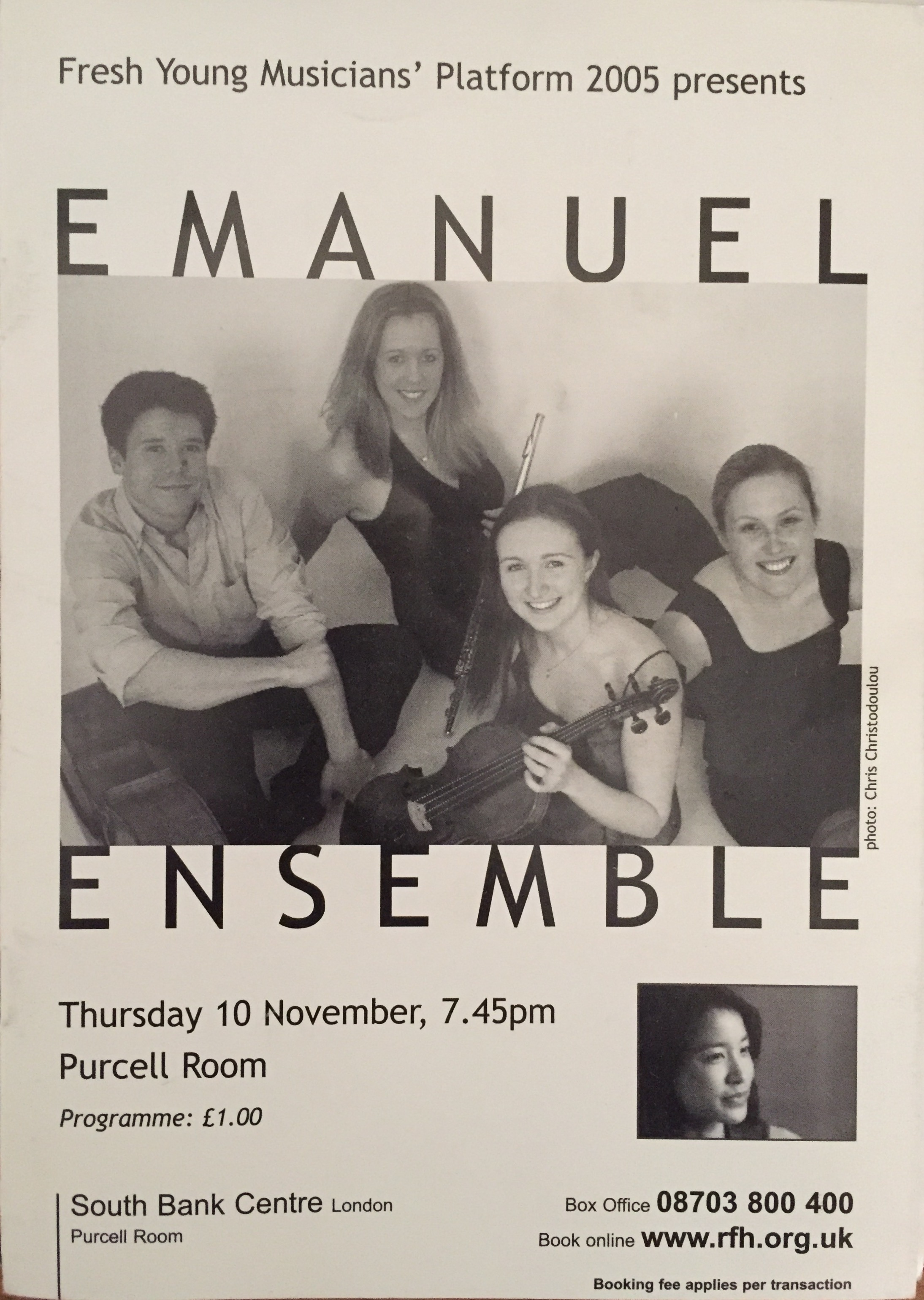 Anna Stokes Flute-Emanuel Ensemble-Purcell Room Programme