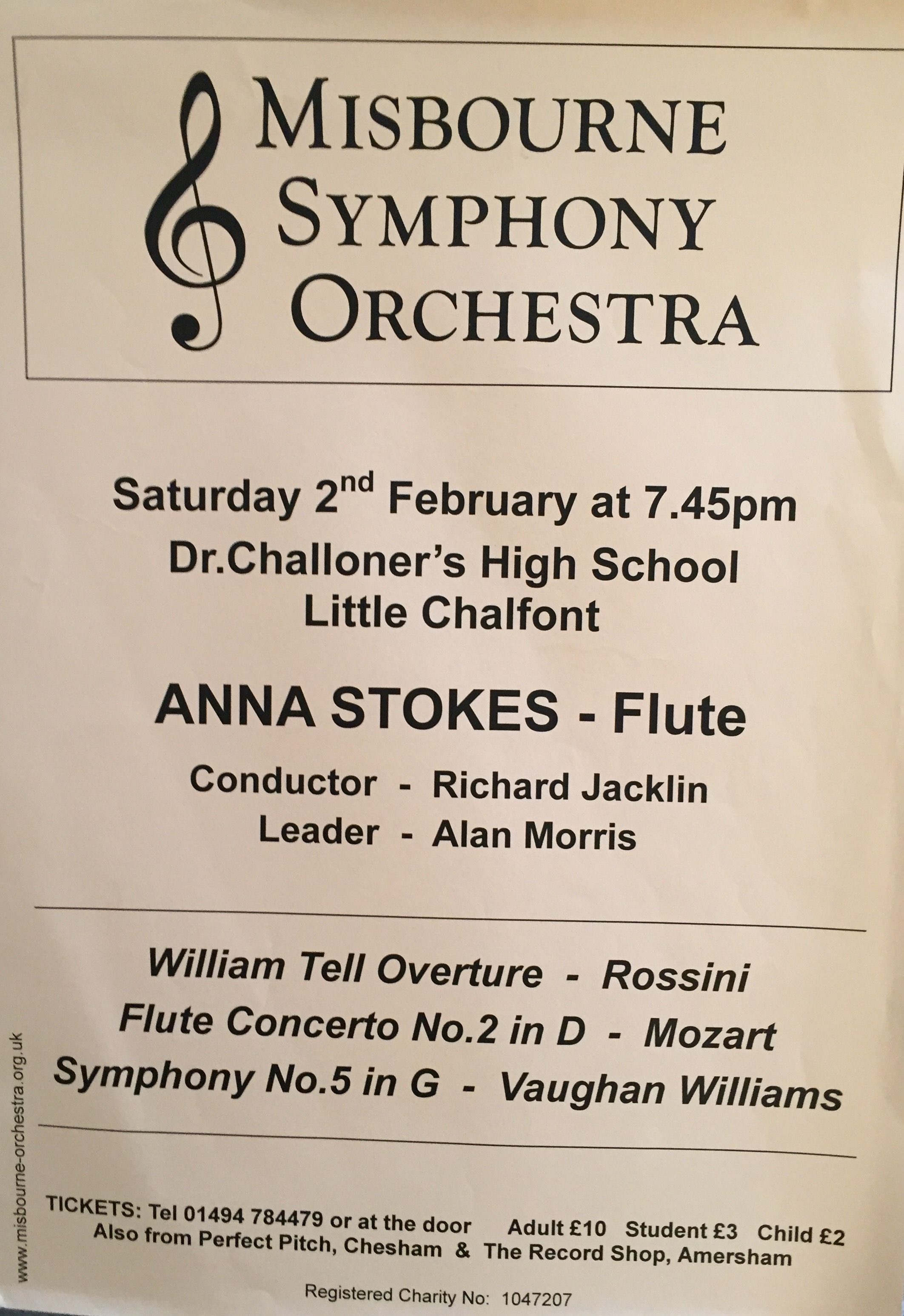 Anna Stokes-Flute Soloist-Mozart Concerto in D-Misbourne Symphony Orchestra