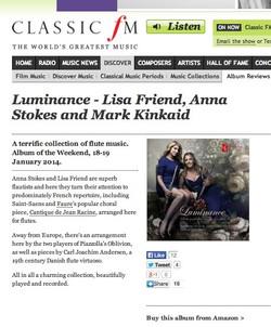 Luminance cd classic fm cd review jan 2014-Anna Stokes Flautist-Lisa Friend-Flautist-Mark Kinkaid-Pi