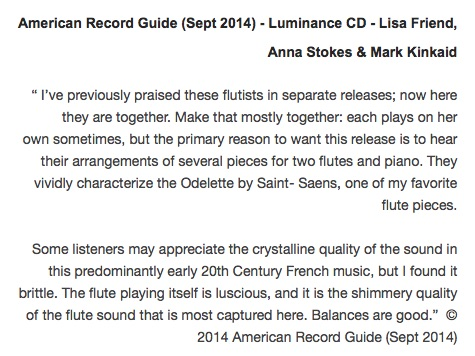 Luminance CD - American Records Guide Review - Anna Stokes-Lisa Friend - Flute-Mark Kinkaid (Piano)