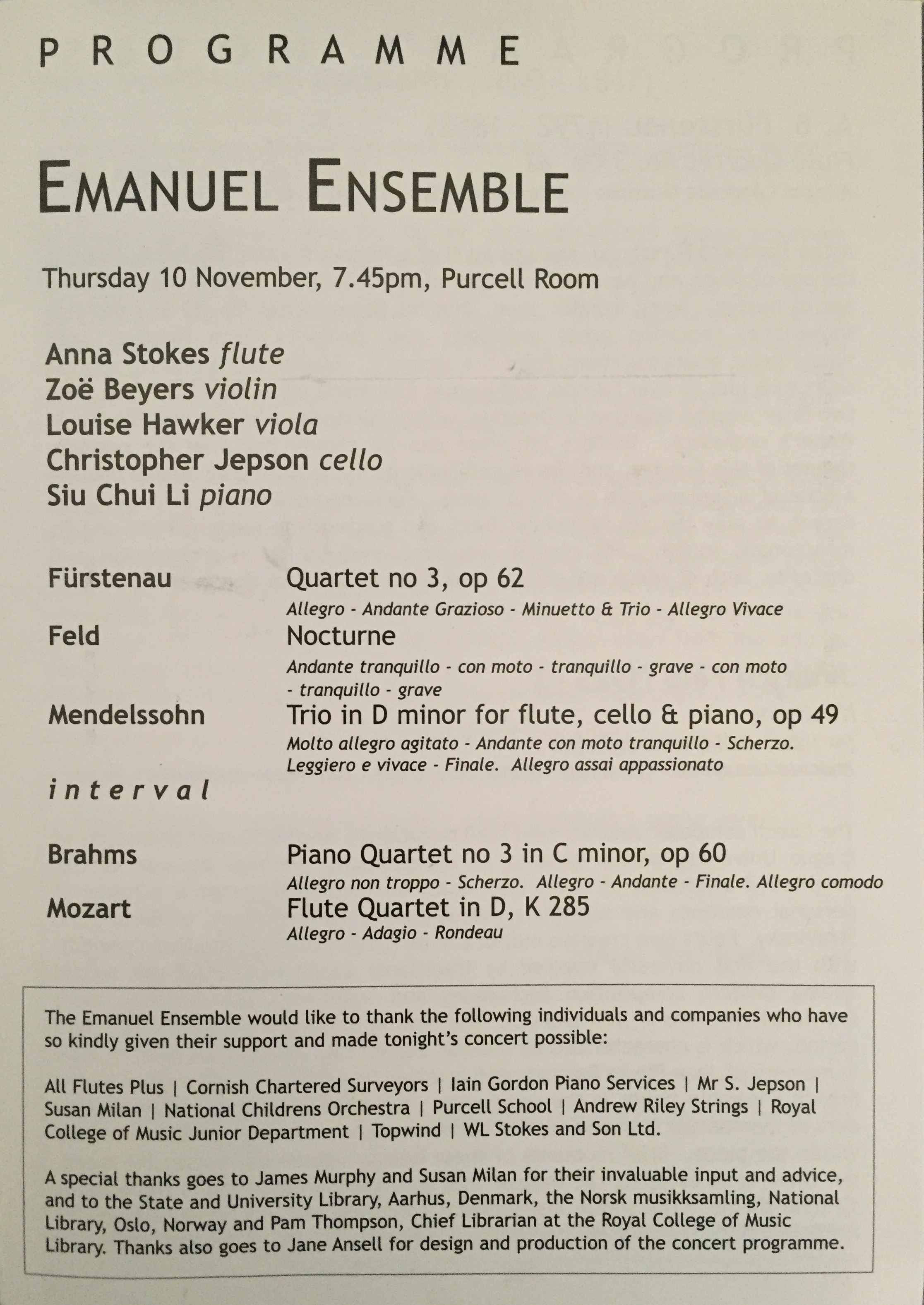 Purcell Room Debut-Anna Stokes Flute-Emanuel Ensemble Inside Programme