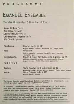 Purcell Room Debut-Anna Stokes Flute-Emanuel Ensemble Inside Programme