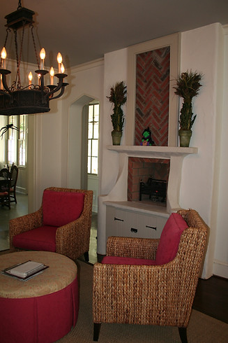 Fireplace with custom stacked brick in Myers Park, NC
