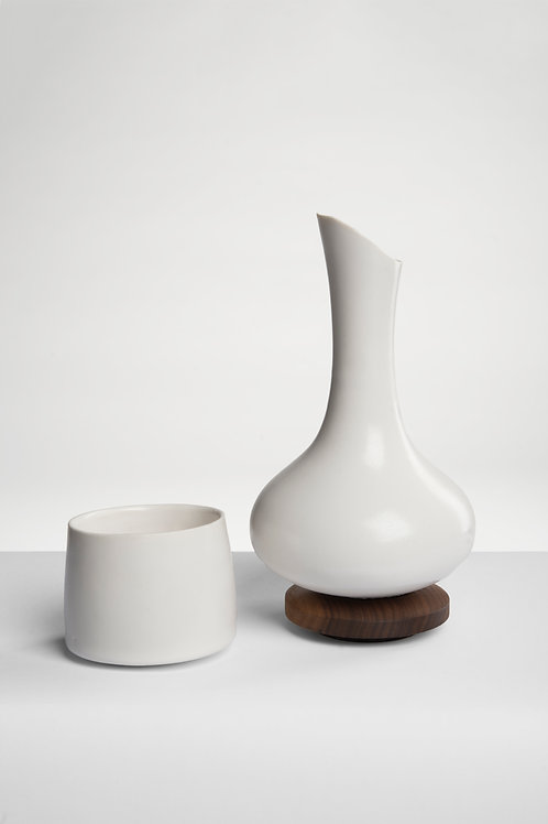 Tapered Lip Decanter with Walnut Base and One Cup
