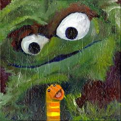 Oscar the Grouch and Slimey