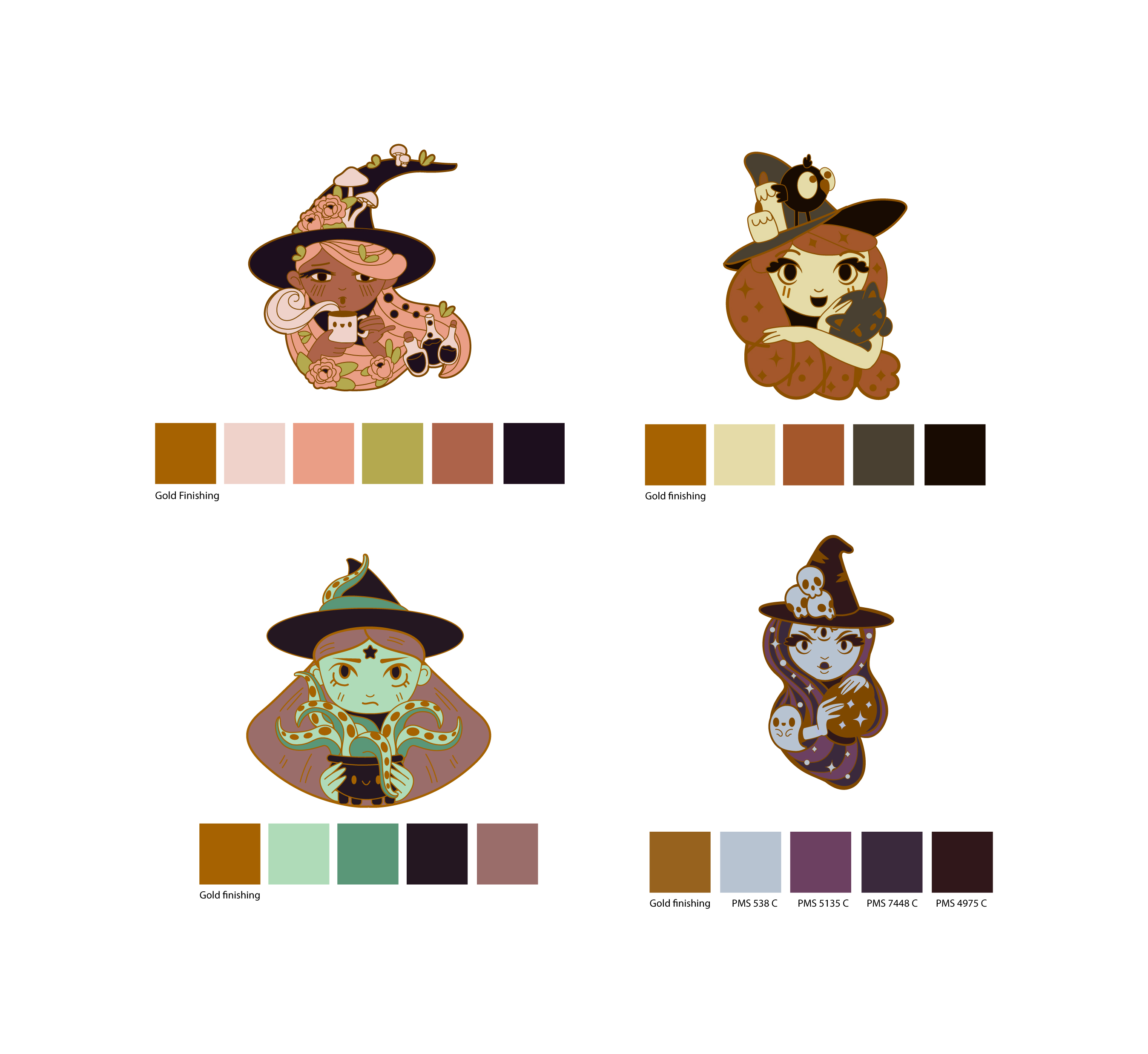 Witch Enamel Pin Concepts