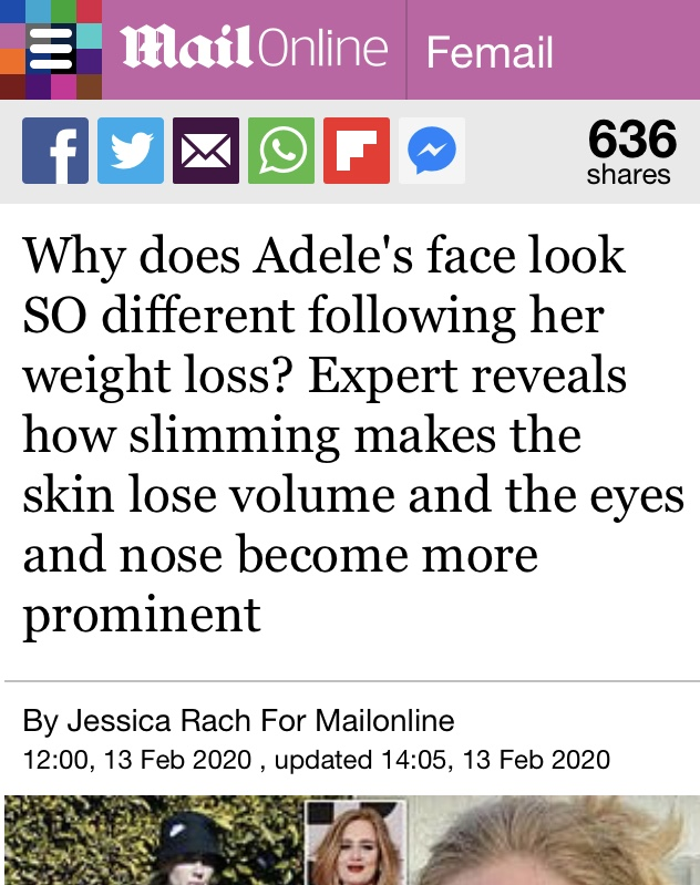 Adele article - mailonline Feb 2020