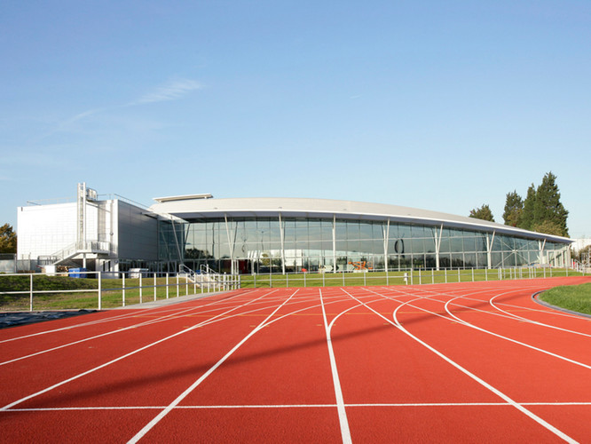 Outdoor track with views of the venue