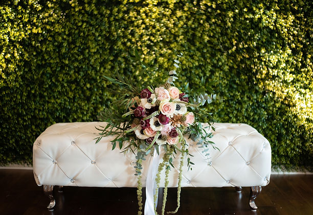Wedding Bouquet on Lounge Bench Ottoman at My Enchanted Events Venue