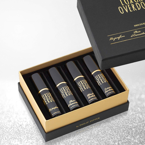 LUXURY OVERDOSE - PERFECT SET FOR  GIFT AND TRAVEL 4 mini perfumes of 10 ml.