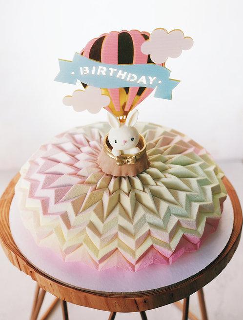 Детский торт на 8-10 человек с зайкой в воздушном шаре