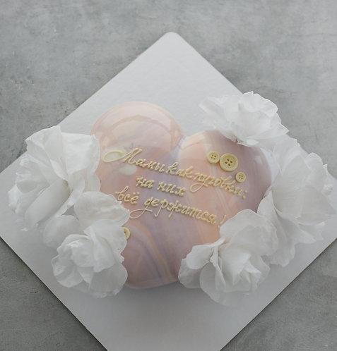 Торт-сердце на 6-8 человек с вафельными цветами