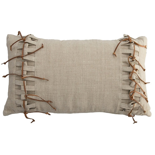 Linen Pillow with Leather Fringe
