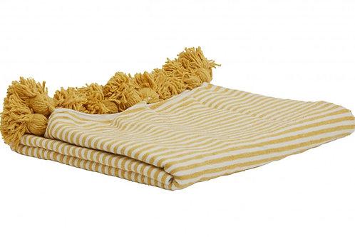 Yellow and White Pom Pom Blanket
