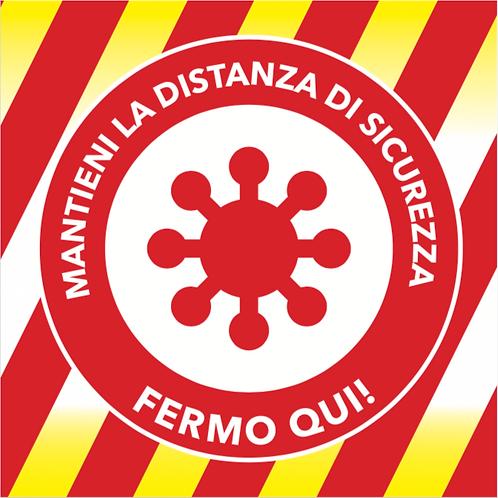 Adesivo Distanza di Sicurezza 33x33 cm - virus