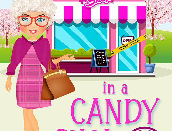 Premade Senior Woman Candy Shop Cozy Mystery Book Cover