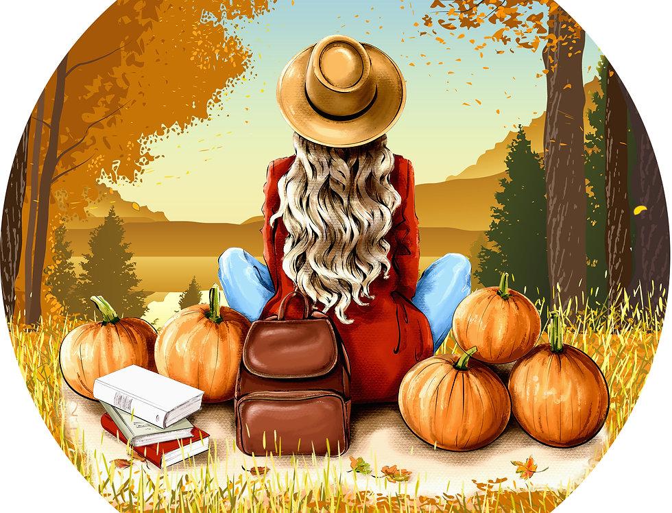 Premade Vella Woman in Hat Autumn Picnic