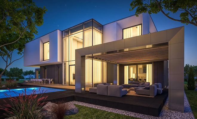 A modern villa automated with Wozart Smart home devices.