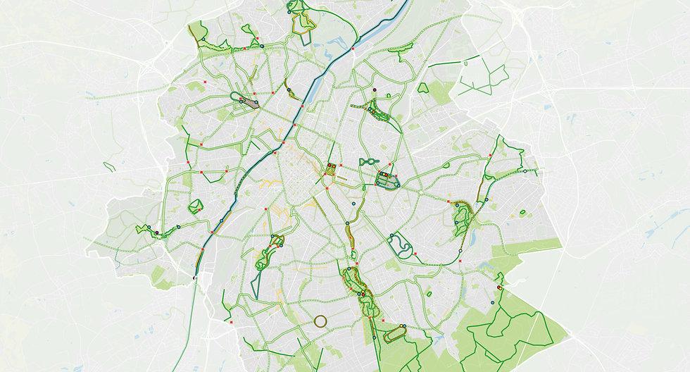 Brussel netwerk loop en fietsroutes