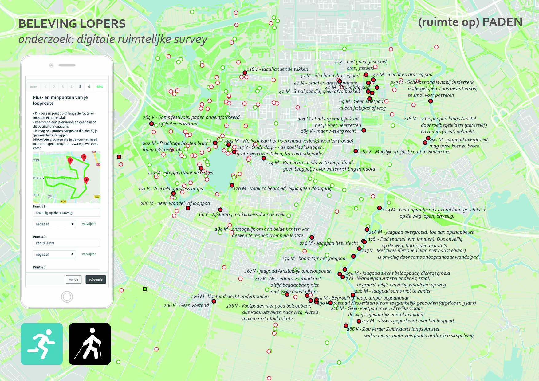 kaart-enquete amstelveen onderzoek kwaliteit en beleving looppaden looproutes