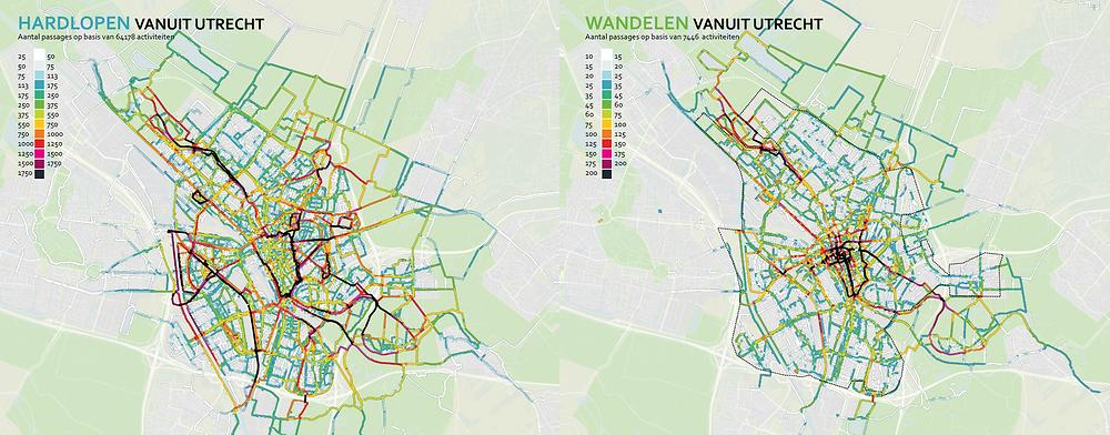 Hardlopen en wandelen vanuit Utrecht obv Endomondo data
