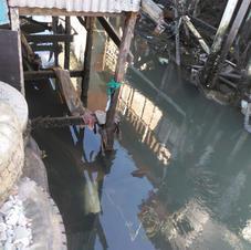 Base das palafitas no meandro do rio