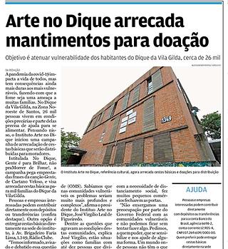 Jornal A Tribuna Arte no Dique 01.04.21.