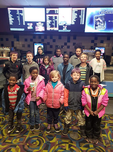 Youth group on an outing to the movies