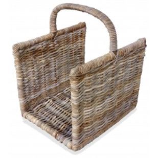 Log Trug Rectangle Rattan Greywash