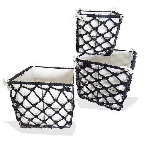 Cotton Rectangle Storage Set of 3 - Black
