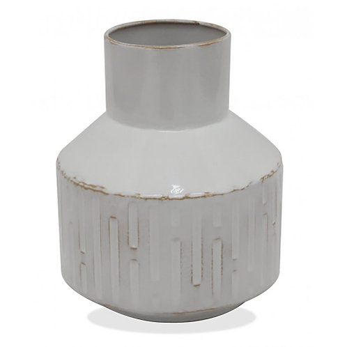 Retro Metal Vase Whitewash - Small