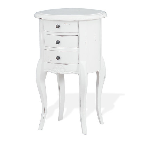 Bramble Drum Shaped Lamp Table - Architectural White