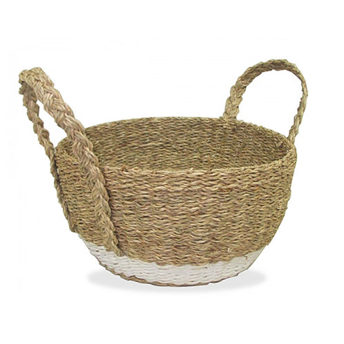 Round Seagrass Basket Natural - with White Trim