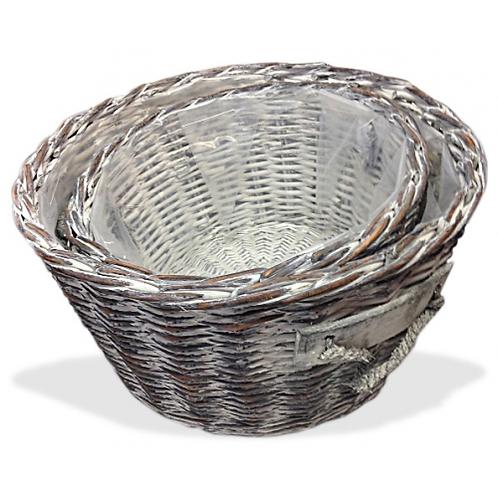 Round Set of 2 - Storage/Laundry Basket - Rustic