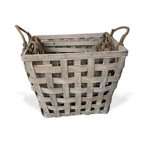 Woodchip Rectangle Basket Set of 3 - Greywash