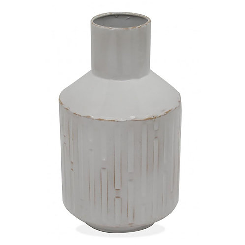 Retro Metal Vase Whitewash - Large