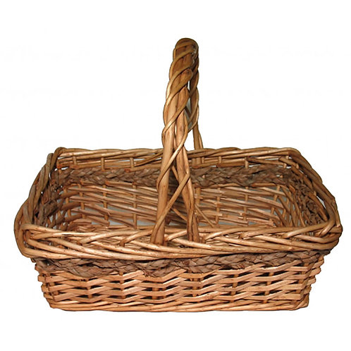 Basket Rect Willow Seagrass Trim Lge