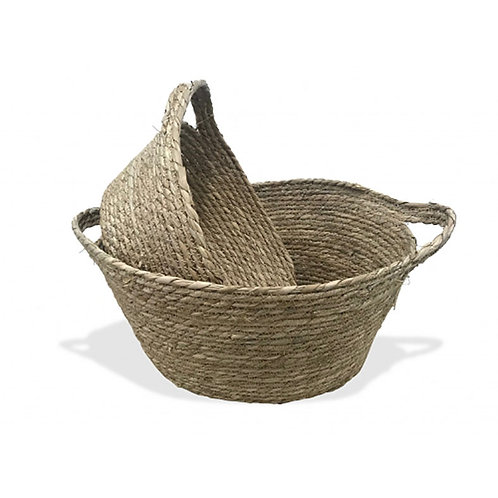 Seagrass Oval Basket S/2 ear handles Natural