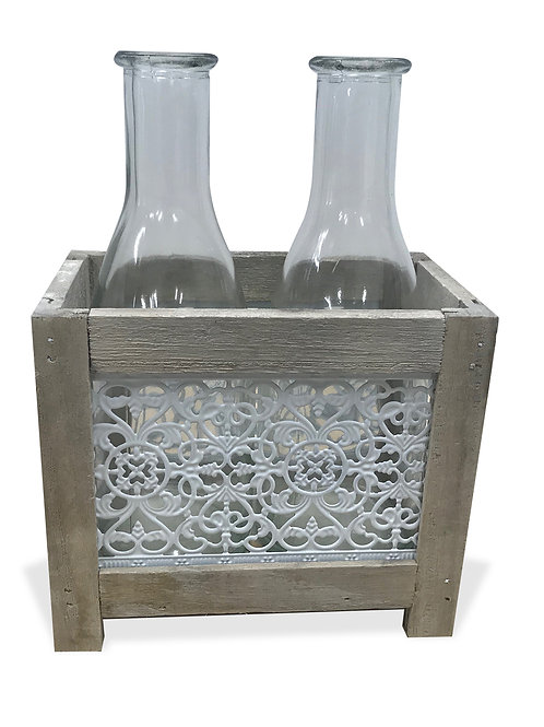 Wooden Box 2 Bottle White Metal Lace