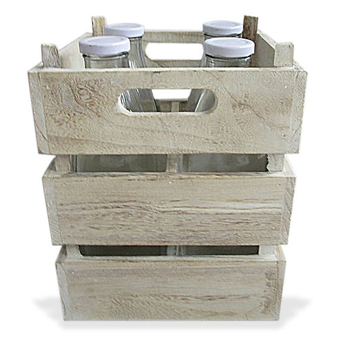 Wooden Crate 4 Bottle Square Natural
