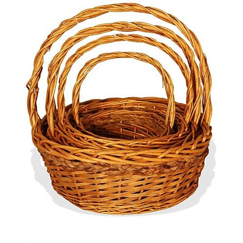 Basket Round Willow Seagrass Trim Xl