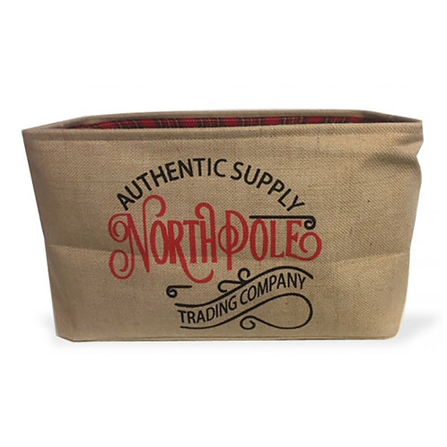 Jute North Pole Storage Bag - Tartan Lined Large