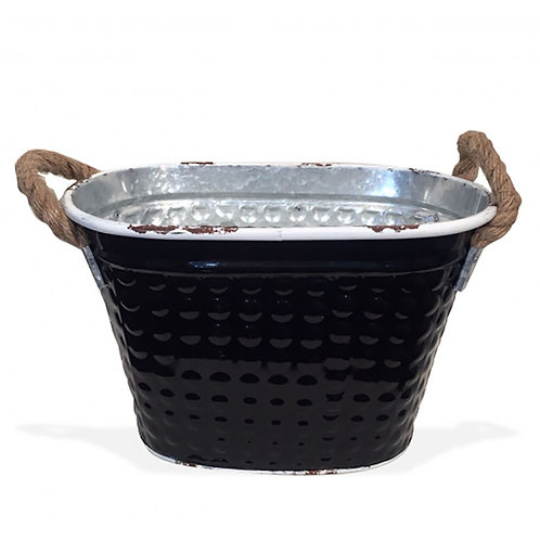 Tin Oval Pot - Black
