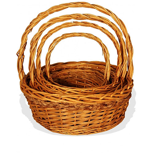 Basket Round Willow Seagrass Trim Lge