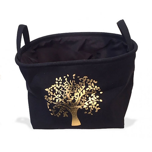 Oval Jute Black - Gold Tree